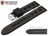 Watch strap Tulsa 24mm black silicone carbon optics racing look orange stitching by MEYHOFER (width of buckle 22 mm)