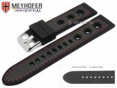 Watch strap Tulsa 24mm black silicone carbon optics racing look red stitching by MEYHOFER (width of buckle 22 mm)