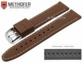 Watch strap Gatlinburg 22mm brown silicone structure matt light stitching by MEYHOFER (width of buckle 20 mm)