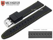 Watch strap Gatlinburg Special 16mm black silicone structure matt yellow stitching by MEYHOFER (width of buckle 16 mm)