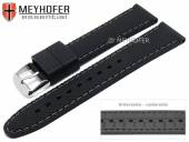 Watch strap Gatlinburg 22mm black silicone structure matt grey stitching by MEYHOFER (width of buckle 20 mm)