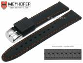 Watch strap Gatlinburg Special 22mm black silicone structure matt orange stitching by MEYHOFER (width of buckle 20 mm)
