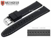 Watch strap Gatlinburg 18mm black silicone structure matt light stitching by MEYHOFER (width of buckle 16 mm)