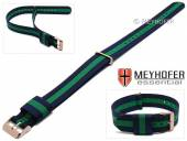 Watch strap Streamwood 18mm dark blue textile/synthetics green strip one piece strap rosé golden buckle by MEYHOFER