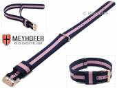 Watch strap Streamwood 18mm dark blue textile/synthetics pink strip one piece strap rosé golden buckle by MEYHOFER