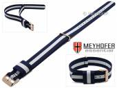 Watch strap Streamwood 18mm dark blue textile/synthetics white strip one piece strap rosé golden buckle by MEYHOFER