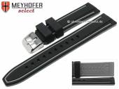 Watch strap Flatwoods 24mm black/grey silicone smooth matt by MEYHOFER (width of buckle 22 mm)