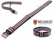 Watch strap Oswego 20mm dark blue/white/red textile/synthetics one piece strap rosé golden buckle by MEYHOFER
