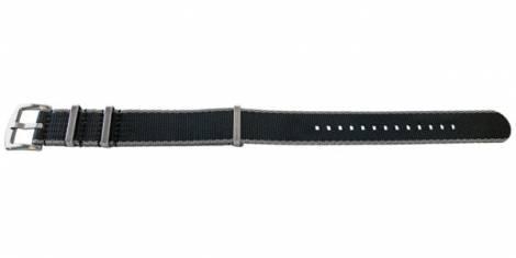 Watch strap -Willisburg- 22mm black/grey synthetic/textile one-piece strap in NATO style by MEYHOFER - Bild vergrößern