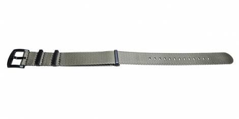 Watch strap -Benicia- 20mm beige synthetic/textile one-piece strap in NATO style black clasp by MEYHOFER - Bild vergrößern