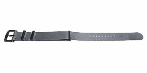 Watch strap -Benicia- 18mm grey synthetic/textile one-piece strap in NATO style black clasp by MEYHOFER - Bild vergrößern