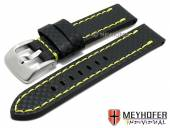 Watch strap Lethbridge 24mm black leather carbon look yellow stitching by MEYHOFER (width of buckle 24 mm)