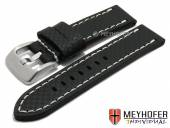 Watch strap Lethbridge 24mm black leather carbon look light stitching by MEYHOFER (width of buckle 24 mm)