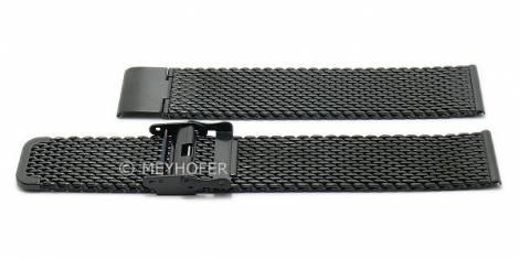 Watch strap XL -Hopewell- 20mm black stainless steel mesh medium structure with slide clasp by MEYHOFER - Bild vergrößern