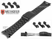 Watch strap Livonia 22-24-26mm black stainless steel folded partly polished with multiple ends by MEYHOFER