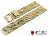 Watch strap Lockport 18mm golden stainless steel mesh medium structure with buckle by MEYHOFER
