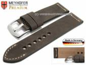 Watch strap Amberg 24mm dark brown leather vintage look light stitching by MEYHOFER (width of buckle 24 mm)