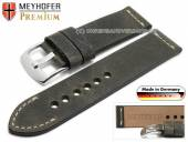 Watch strap Amberg 22mm dark grey leather vintage look light stitching by MEYHOFER (width of buckle 22 mm)