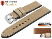 Watch strap Amberg 24mm light brown leather vintage look light stitching by MEYHOFER (width of buckle 24 mm)