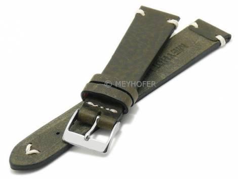 Watch strap -Erlangen- 19mm dark green leather vintage look light stitching by MEYHOFER (width of buckle 16 mm) - Bild vergrößern