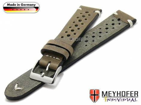 Watch strap -Grafenau- 19mm beige leather racing look vintage look light stitching by MEYHOFER (width of buckle 16 mm) - Bild vergrößern