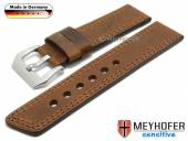 Watch strap Erding 24mm brown leather vintage look double stitching by MEYHOFER (width of buckle 24 mm)