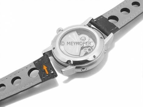 Watch strap Meyhofer EASY-CLICK -Braga- 22mm black leather racing look stitched (width of buckle 20 mm) - Bild vergrößern