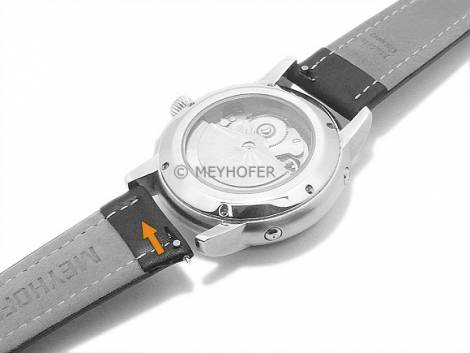 Watch strap Meyhofer EASY-CLICK -Kelheim- 22mm black leather smooth light stitching (width of buckle 20 mm) - Bild vergrößern