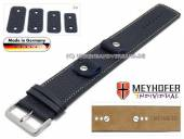 Watch strap Kassel Classic 14-16-18-20mm multiple ends dark blue leather grained light stitching leather pad MEYHOFER