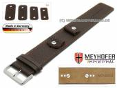 Watch strap Kassel 14-16-18-20mm multiple ends d.brown leather grained orange stitching with leather pad by MEYHOFER
