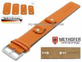 Watch strap Kassel Classic 14-16-18-20mm multiple ends orange leather grained light stitching leather pad MEYHOFER