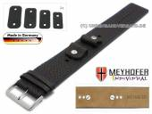 Watch strap Kassel 14-16-18-20mm multiple ends black leather grained blue stitching with leather pad by MEYHOFER