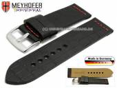 Watch strap Kendall Special 26mm black leather alligator grain red stitching by MEYHOFER (width of buckle 26 mm)