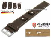 Watch strap Gotha 14-16-18-20mm multiple ends dark brown leather antique look light stitching leather pad MEYHOFER