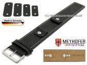 Watch strap Gotha 14-16-18-20mm multiple ends black leather antique look light stitching leather pad MEYHOFER