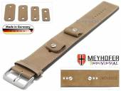 Watch strap Magdeburg 14-16-18-20mm multiple ends beige leather antique look stitched leather pad MEYHOFER