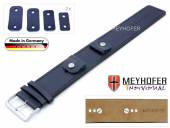 Watch strap Arnbruck 14-16-18-20mm multiple ends dark blue leather smooth stitched with leather pad by MEYHOFER