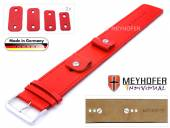 Watch strap Arnbruck 14-16-18-20mm multiple ends red leather smooth stitched with leather pad by MEYHOFER