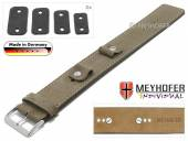 Watch strap Edlingen 14-16-18-20mm multiple ends beige leather suede like light stitching leather pad MEYHOFER