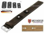 Watch strap Edlingen 14-16-18-20mm multiple ends dark brown leather suede like light stitching leather pad MEYHOFER