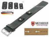 Watch strap Edlingen 14-16-18-20mm multiple ends dark grey leather suede like light stitching leather pad MEYHOFER