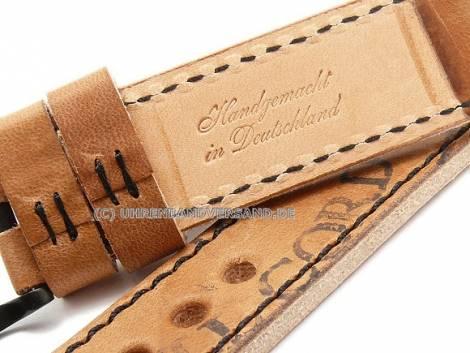 Watch strap -Austin- 24mm l. brown cordovan leather black stitching MEYHOFER (width of buckle 24 mm) - Bild vergrößern