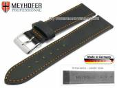 Watch strap Homberg 17mm black Horween Shell Cordovan leather orange stitching by MEYHOFER (width of buckle 16 mm)