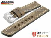 Watch strap Bilbao 26mm beige leather vintage look light double stitching by MEYHOFER (width of buckle 26 mm)