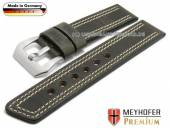 Watch strap Bilbao 24mm dark grey leather vintage look light double stitching by MEYHOFER (width of buckle 24 mm)