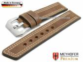 Watch strap Bilbao 24mm brown leather vintage look light double stitching by MEYHOFER (width of buckle 24 mm)
