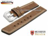 Watch strap Malaga 26mm brown leather vintage look asymmetric stitching by MEYHOFER (width of buckle 26 mm)