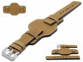 Watch strap Granada 24mm brown leather antique look asymmetric leather pad by MEYHOFER (width of buckle 24 mm)