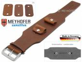 Watch strap Weilheim 20-22-24mm multiple ends brown leather antique look vegetable tanned leather pad MEYHOFER