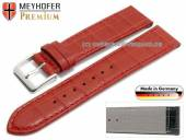 Watch strap XS Jacksonville 20mm red leather alligator grain stitched by MEYHOFER (width of buckle 18 mm)